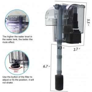 boxtech Rimless Aquarium Hang On Filter - 3 in 1 External Power Waterfall Suspension Oxygen Pump - Submersible Hanging Activated Carbon Biochemical Wall Mounted Fish Tank Filtration Water